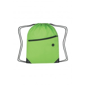 Drawstring Backpack With Front Zipper
